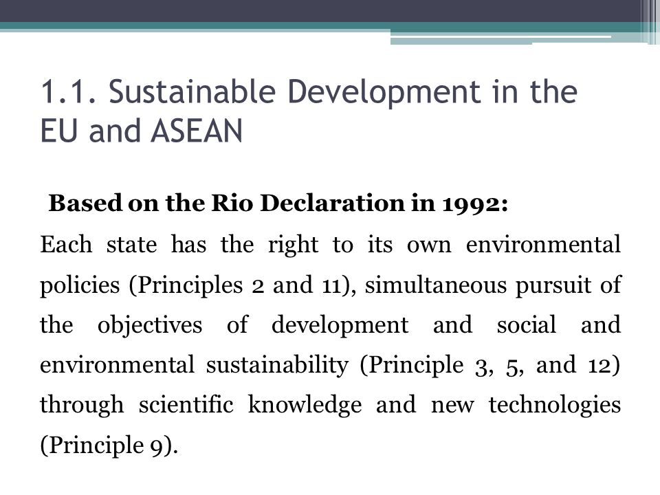 1.1. Sustainable Development in the EU and ASEAN