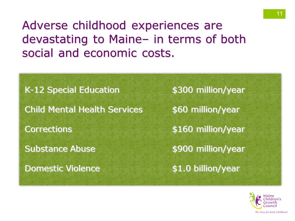 Adverse childhood experiences are devastating to Maine– in terms of both social and economic costs.