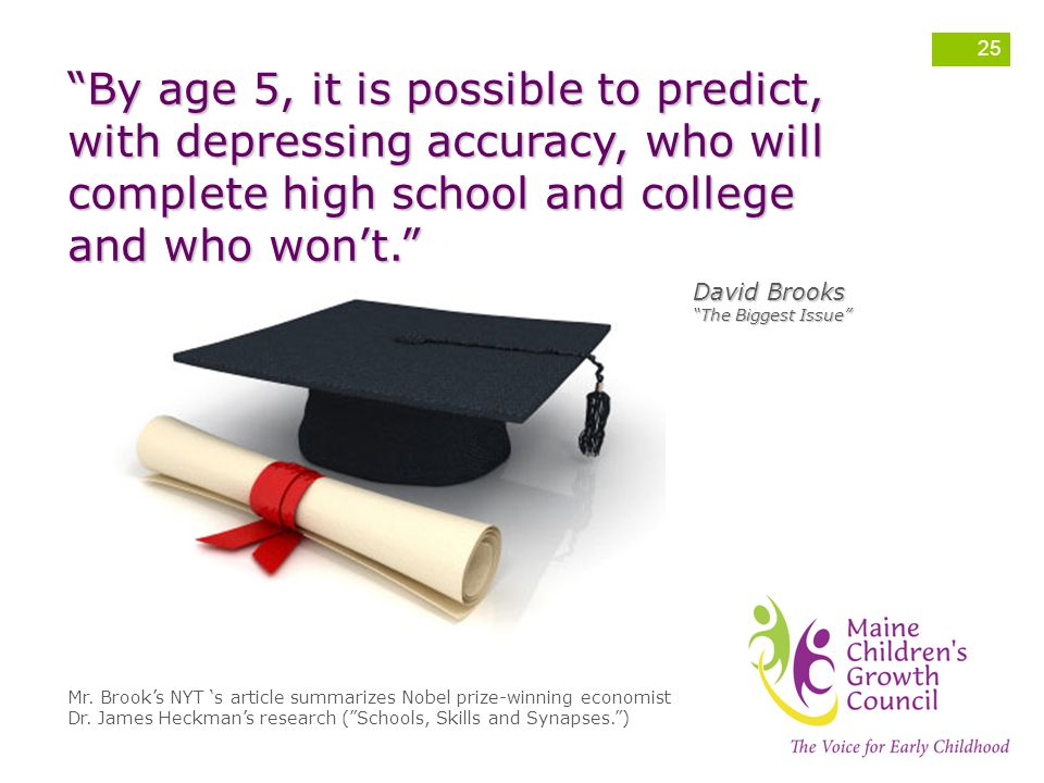 By age 5, it is possible to predict, with depressing accuracy, who will complete high school and college and who won't.