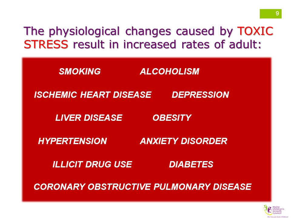 The physiological changes caused by TOXIC STRESS result in increased rates of adult:
