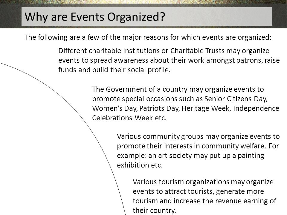Why are Events Organized