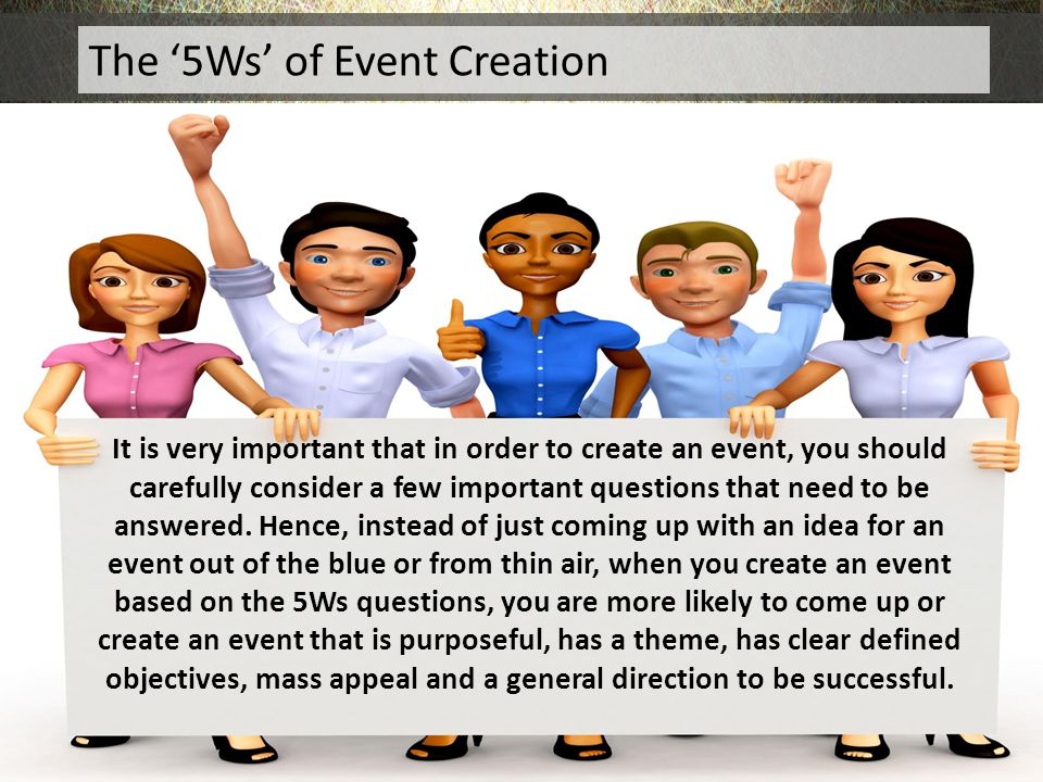 The '5Ws' of Event Creation
