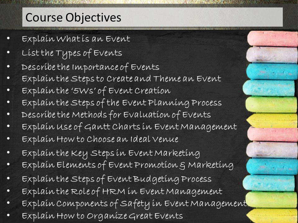 Course Objectives Explain What is an Event List the Types of Events