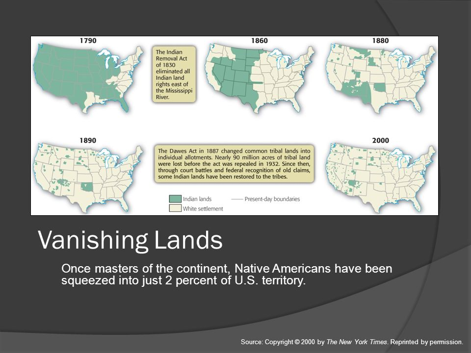 Vanishing Lands Once masters of the continent, Native Americans have been squeezed into just 2 percent of U.S. territory.