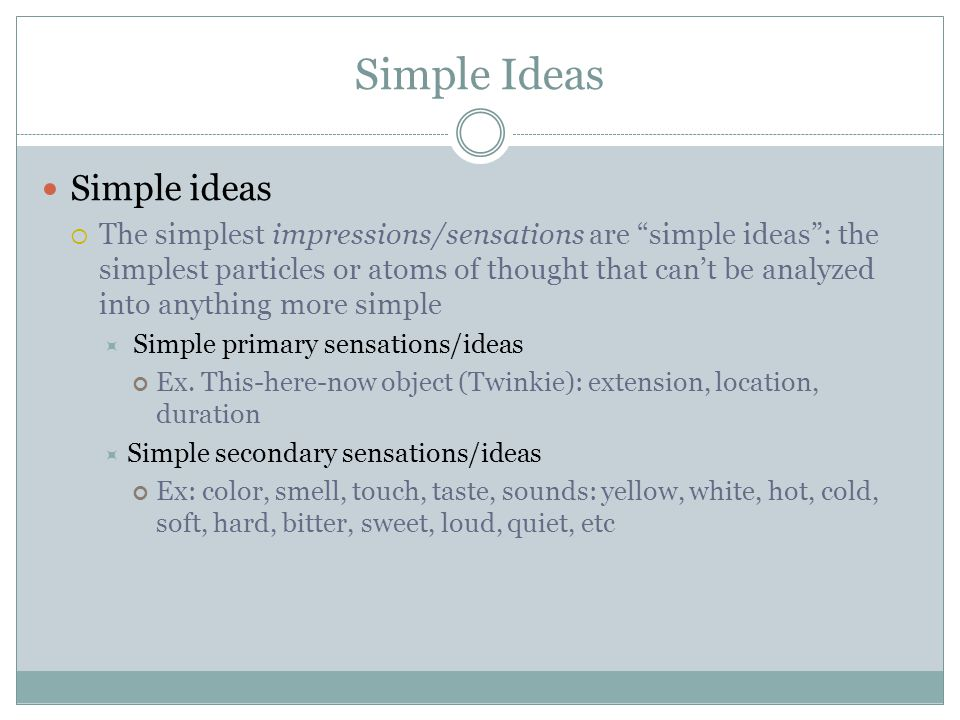 Simple Ideas Simple ideas