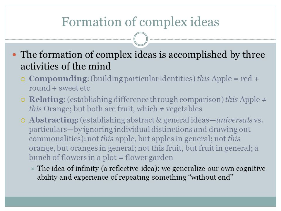 Formation of complex ideas