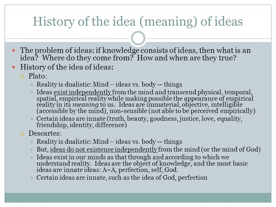 History of the idea (meaning) of ideas