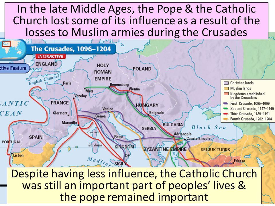 In the late Middle Ages, the Pope & the Catholic Church lost some of its influence as a result of the losses to Muslim armies during the Crusades