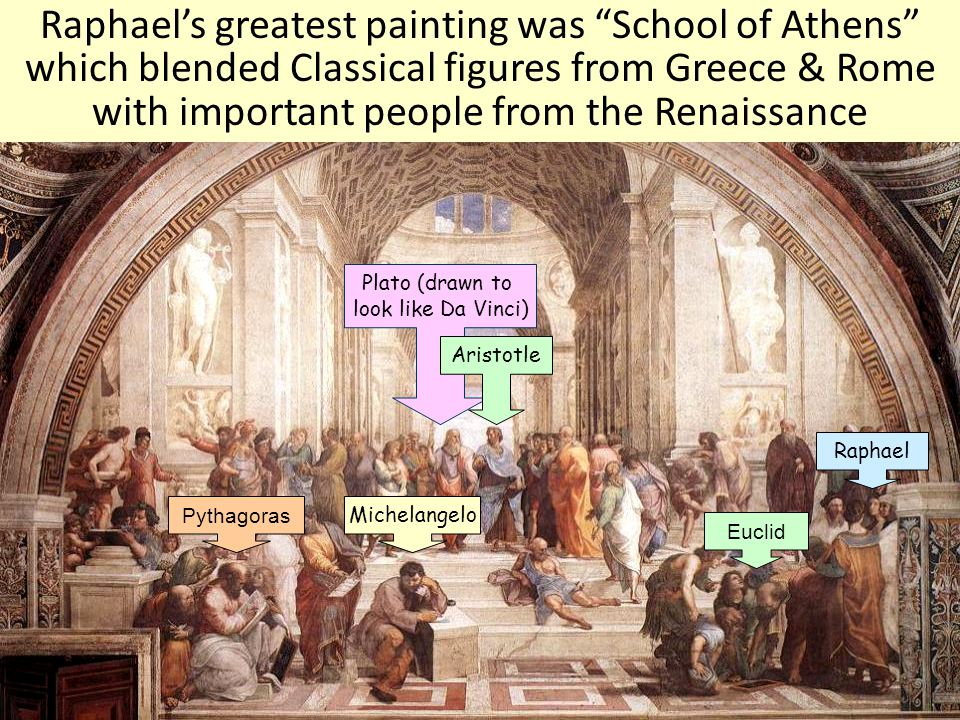 Raphael's greatest painting was School of Athens which blended Classical figures from Greece & Rome with important people from the Renaissance