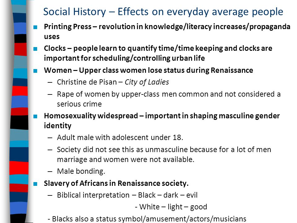 Social History – Effects on everyday average people
