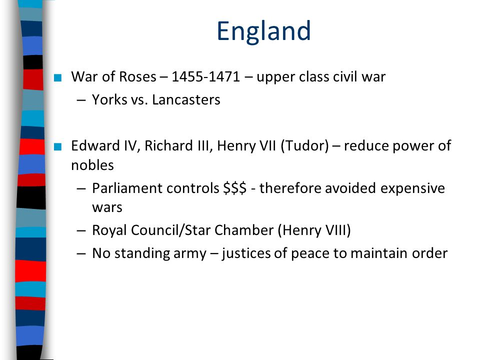 England War of Roses – 1455-1471 – upper class civil war