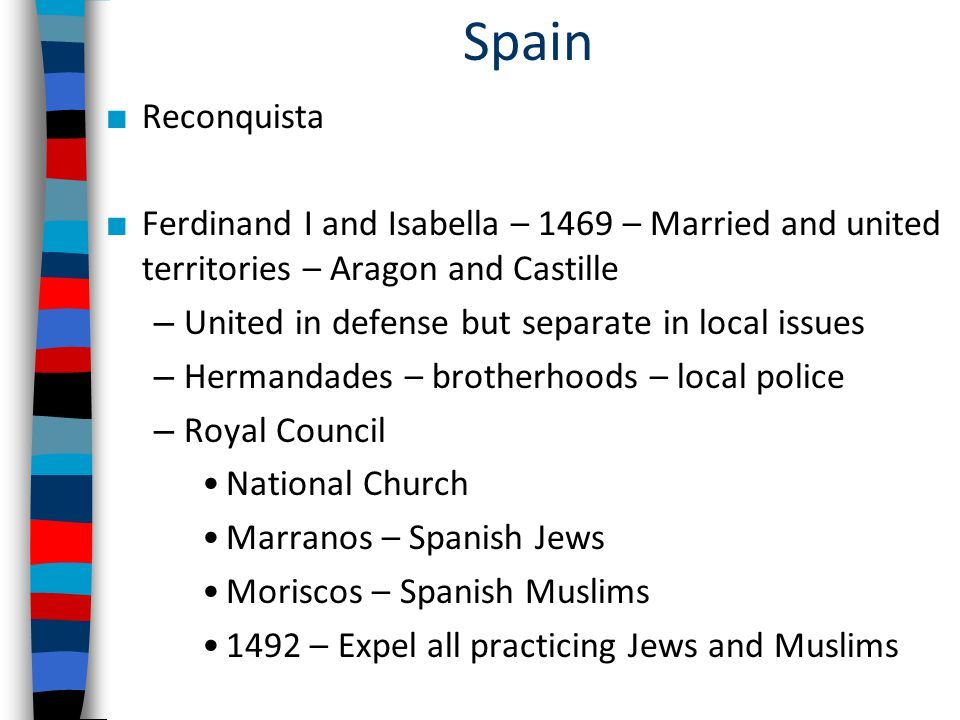 Spain Reconquista. Ferdinand I and Isabella – 1469 – Married and united territories – Aragon and Castille.