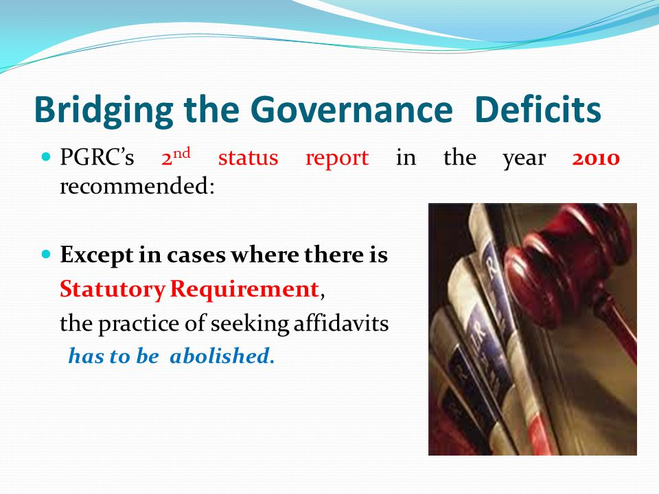 Bridging the Governance Deficits