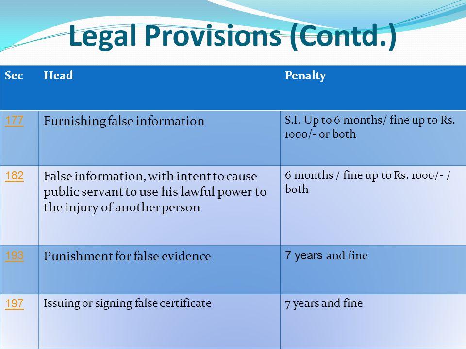 Legal Provisions (Contd.)