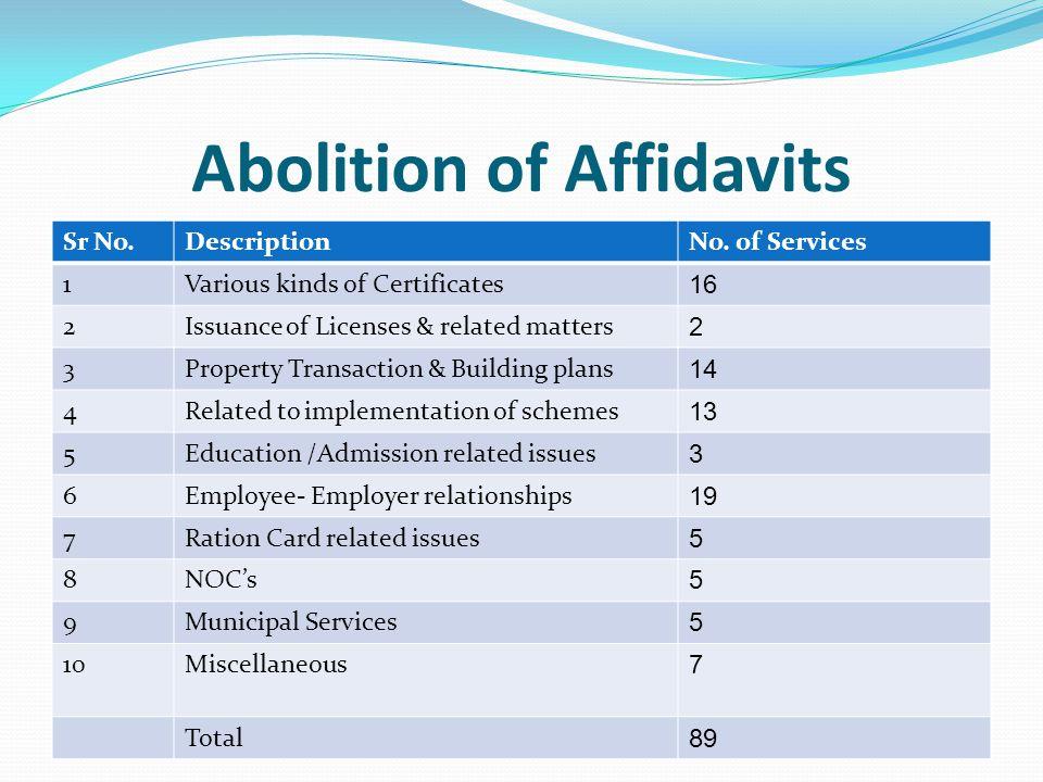 Abolition of Affidavits