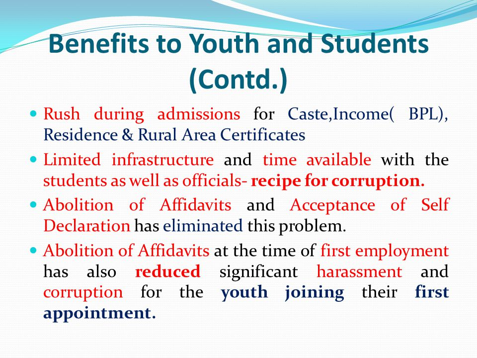Benefits to Youth and Students (Contd.)