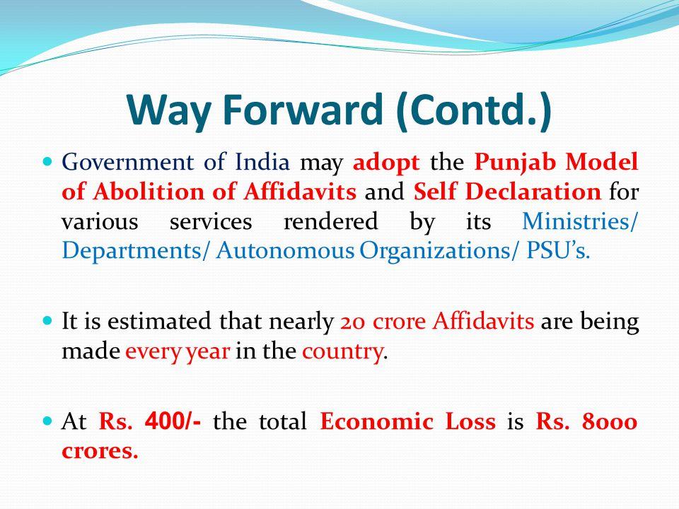 Way Forward (Contd.)