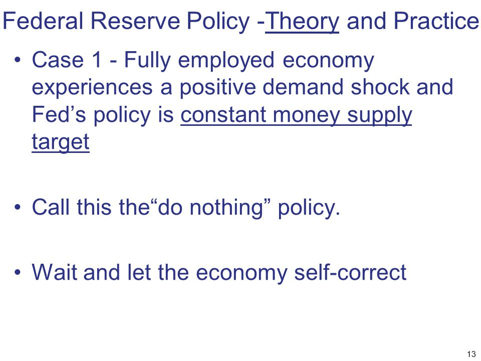 Federal Reserve Policy -Theory and Practice