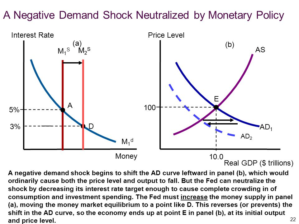 A Negative Demand Shock Neutralized by Monetary Policy