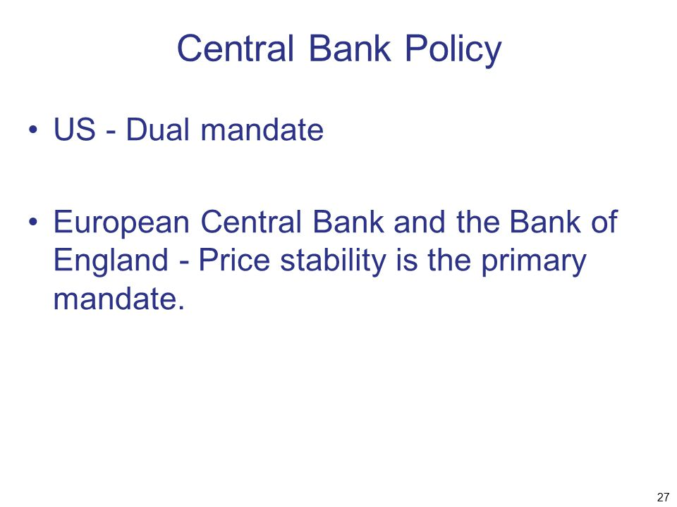Central Bank Policy US - Dual mandate