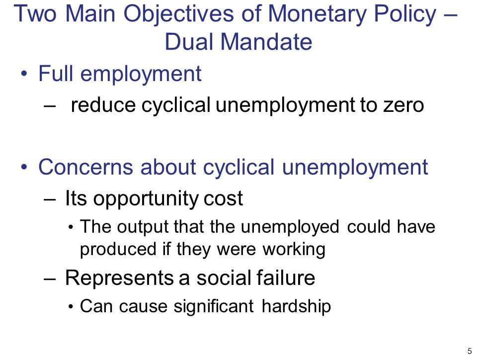 Two Main Objectives of Monetary Policy – Dual Mandate