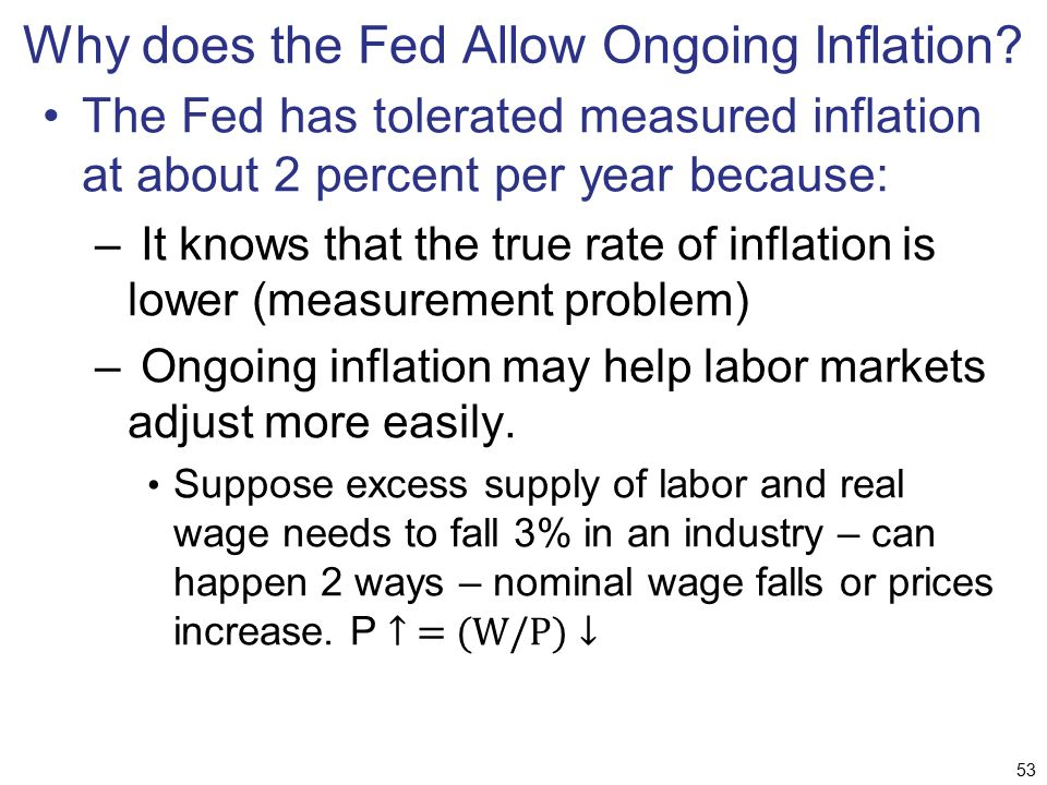 Why does the Fed Allow Ongoing Inflation