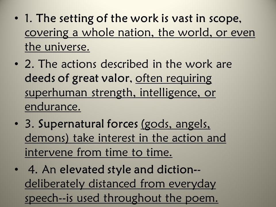 1. The setting of the work is vast in scope, covering a whole nation, the world, or even the universe.