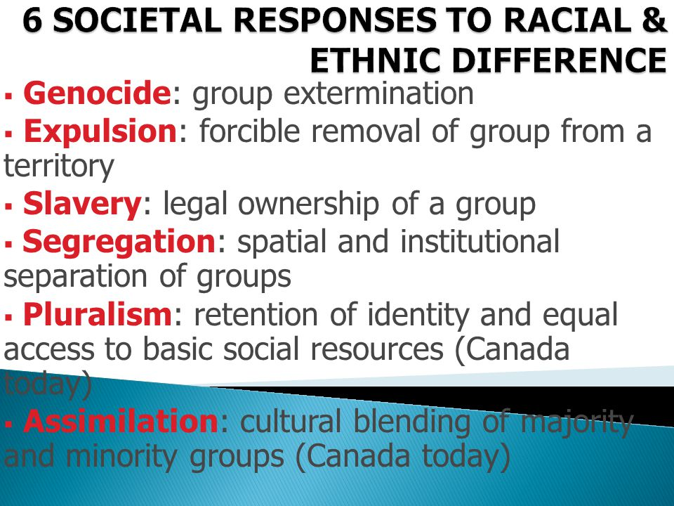 6 SOCIETAL RESPONSES TO RACIAL & ETHNIC DIFFERENCE