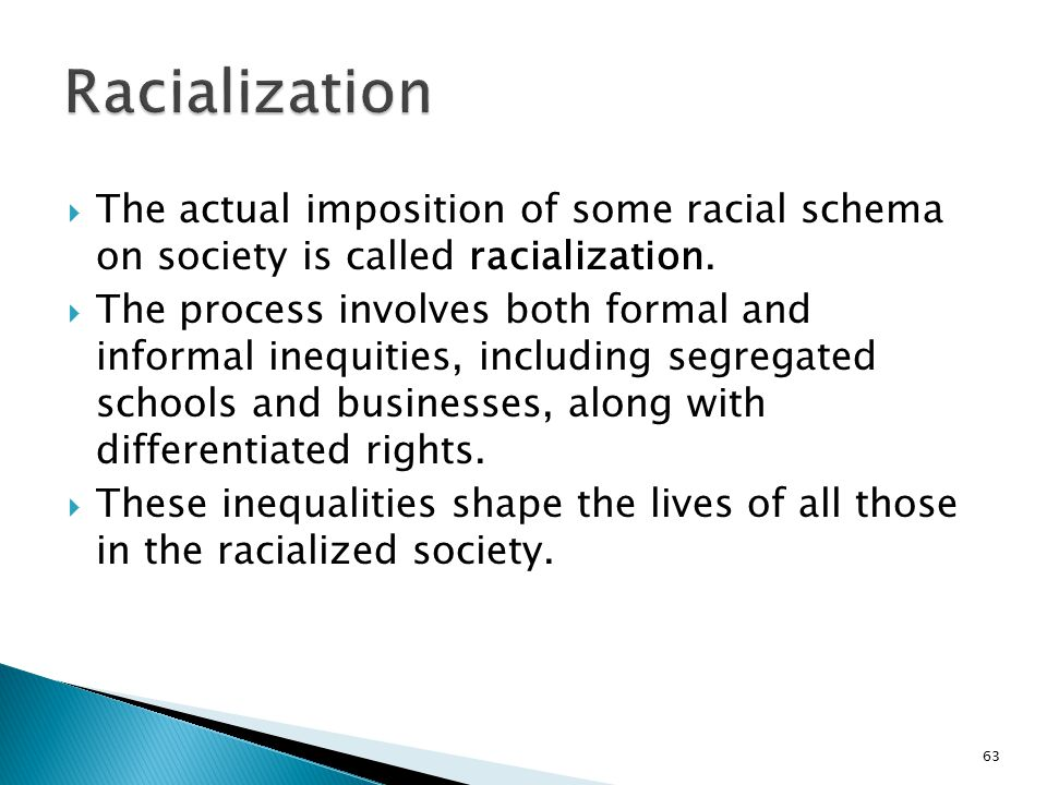 Racialization The actual imposition of some racial schema on society is called racialization.