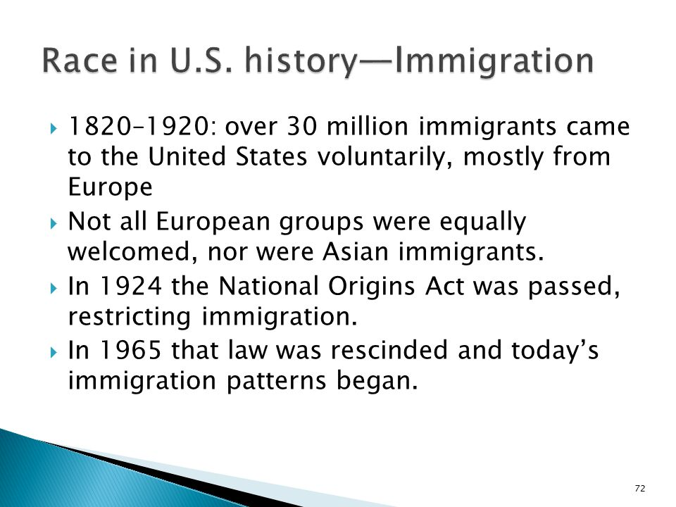 Race in U.S. history—Immigration