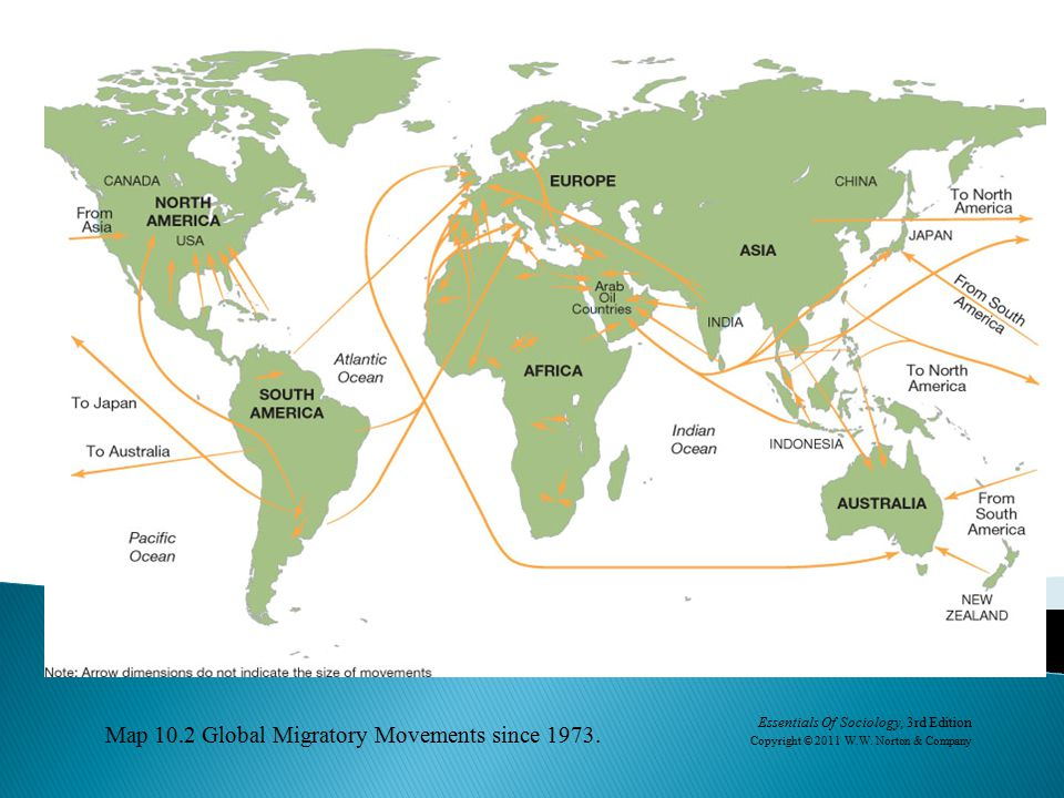 Map 10.2 Global Migratory Movements since 1973.