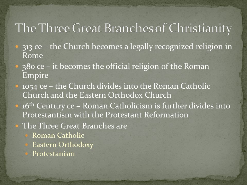 The Three Great Branches of Christianity