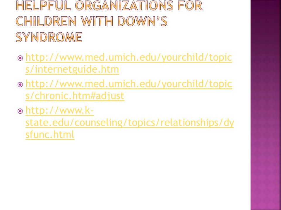 Helpful Organizations for children with down's syndrome