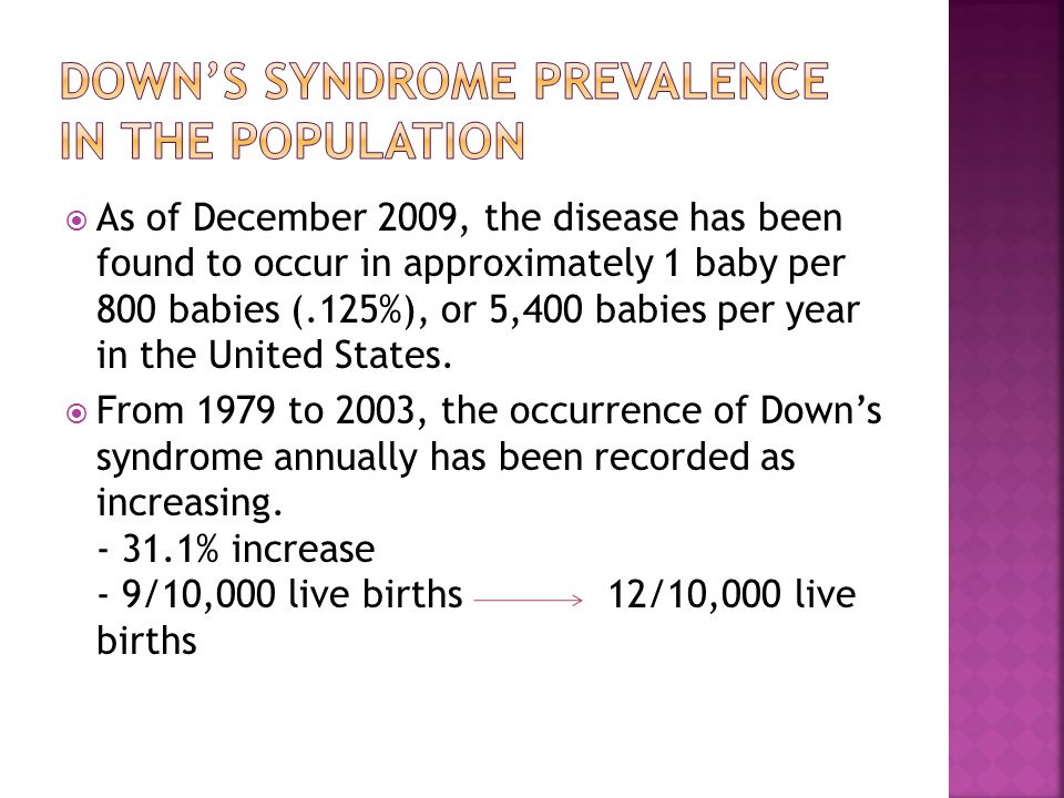Down's syndrome prevalence in the population