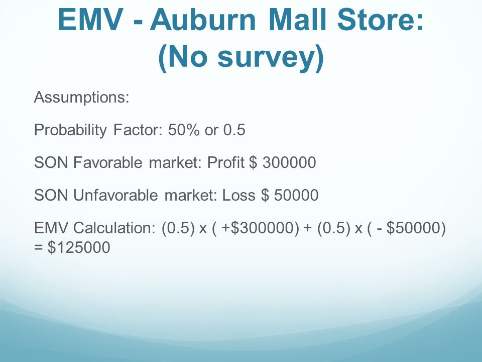 EMV - Auburn Mall Store: (No survey)