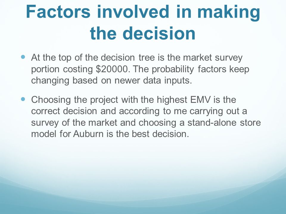 Factors involved in making the decision