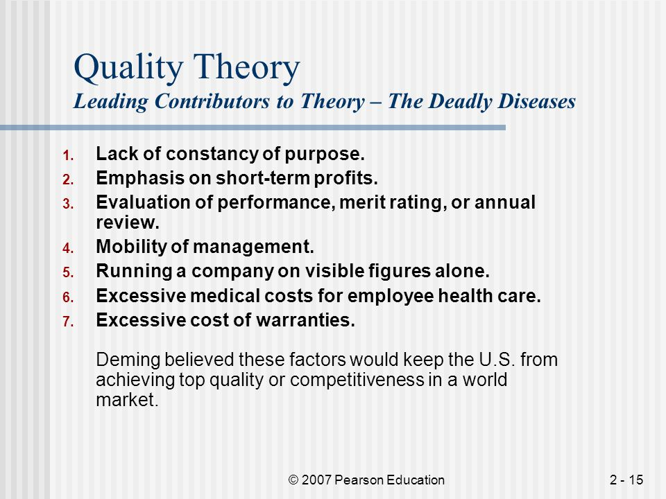 Quality Theory Leading Contributors to Theory – The Deadly Diseases