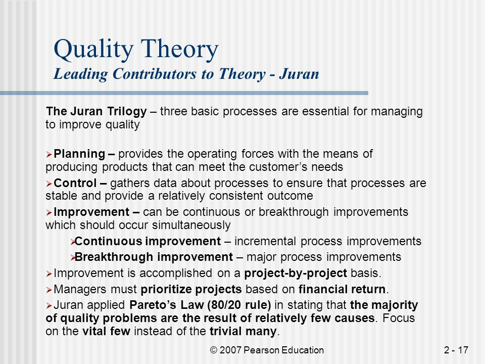 Quality Theory Leading Contributors to Theory - Juran