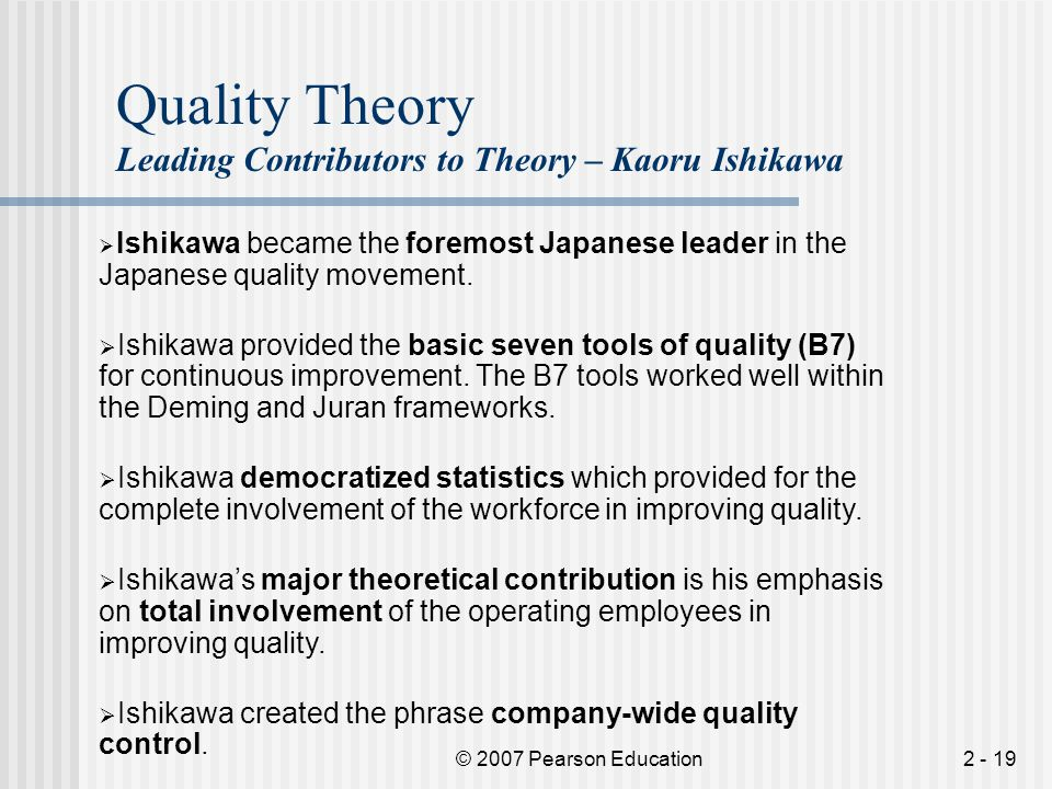 Quality Theory Leading Contributors to Theory – Kaoru Ishikawa