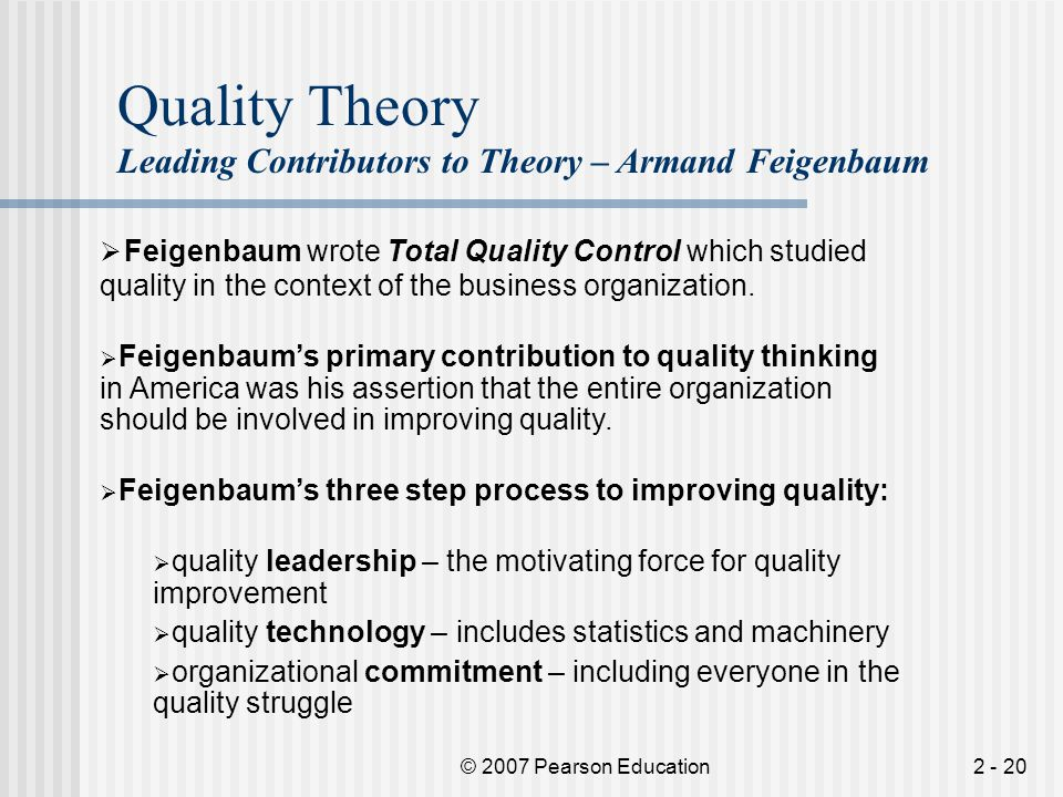 Quality Theory Leading Contributors to Theory – Armand Feigenbaum.