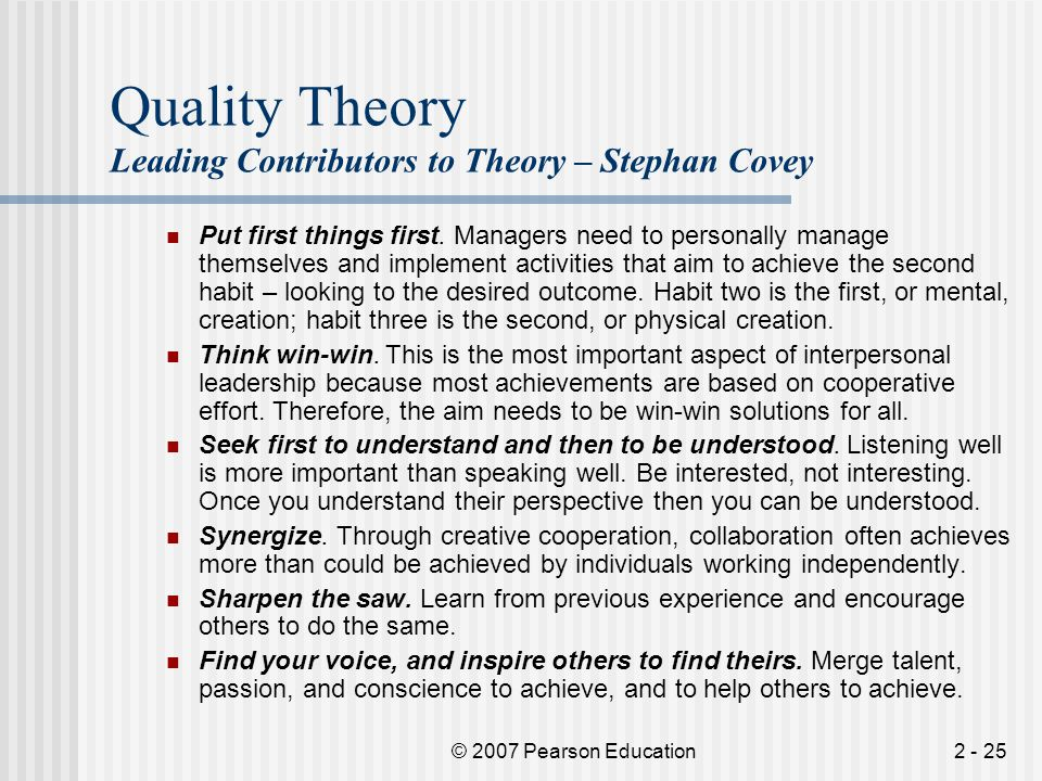 Quality Theory Leading Contributors to Theory – Stephan Covey