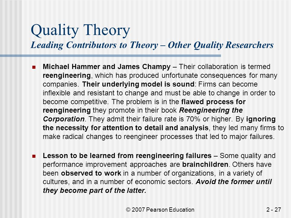 Quality Theory Leading Contributors to Theory – Other Quality Researchers