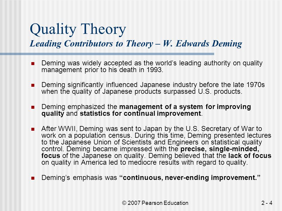 Quality Theory Leading Contributors to Theory – W. Edwards Deming