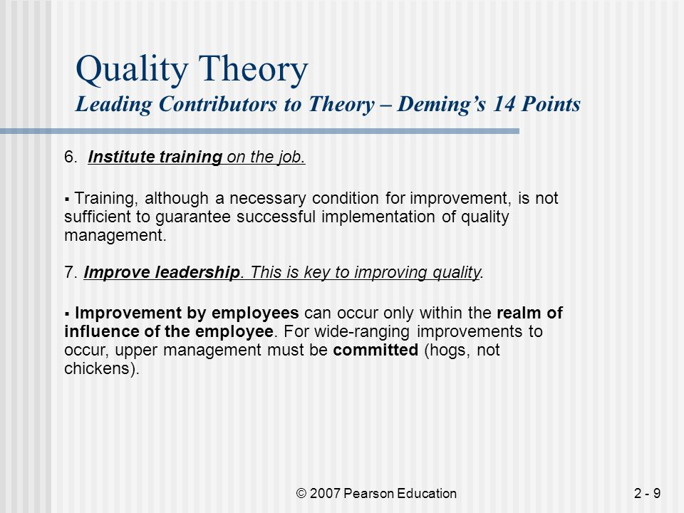 Quality Theory Leading Contributors to Theory – Deming's 14 Points