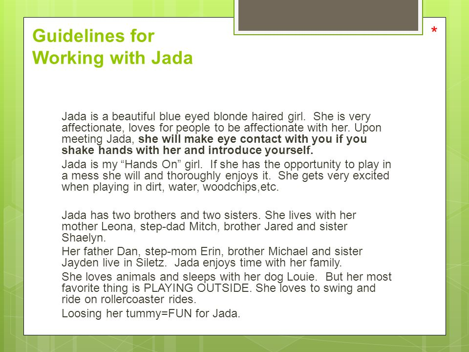 Guidelines for Working with Jada