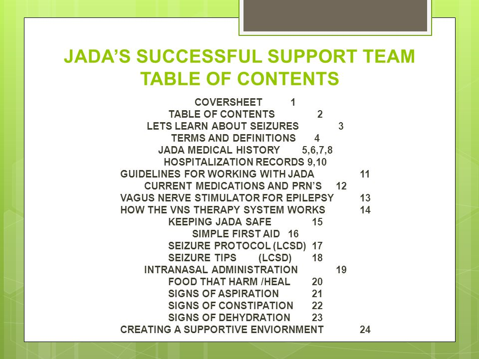 JADA'S SUCCESSFUL SUPPORT TEAM TABLE OF CONTENTS