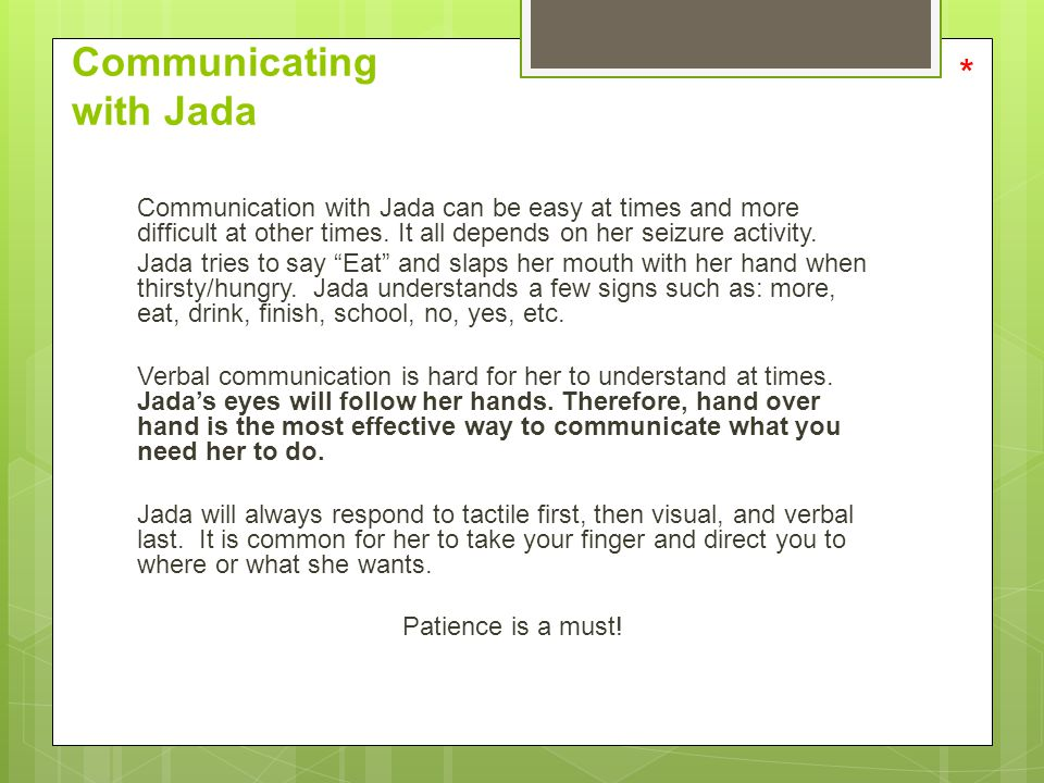 Communicating with Jada
