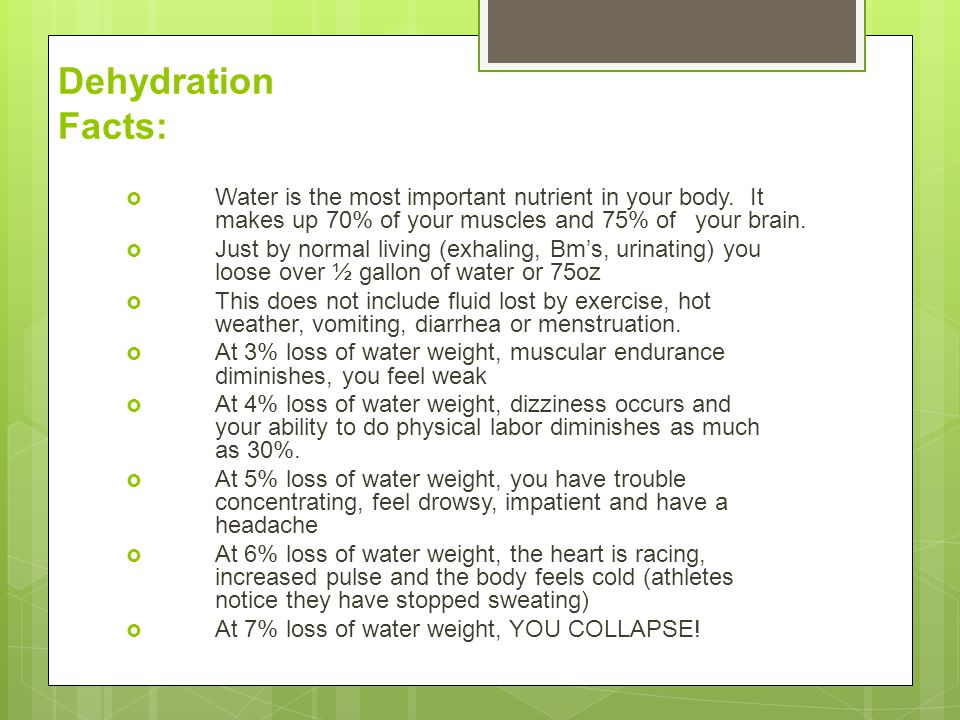 Dehydration Facts: Water is the most important nutrient in your body. It makes up 70% of your muscles and 75% of your brain.