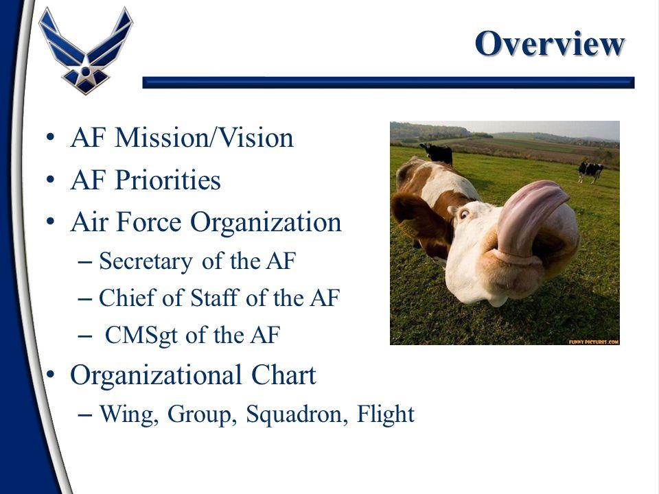 Overview AF Mission/Vision AF Priorities Air Force Organization