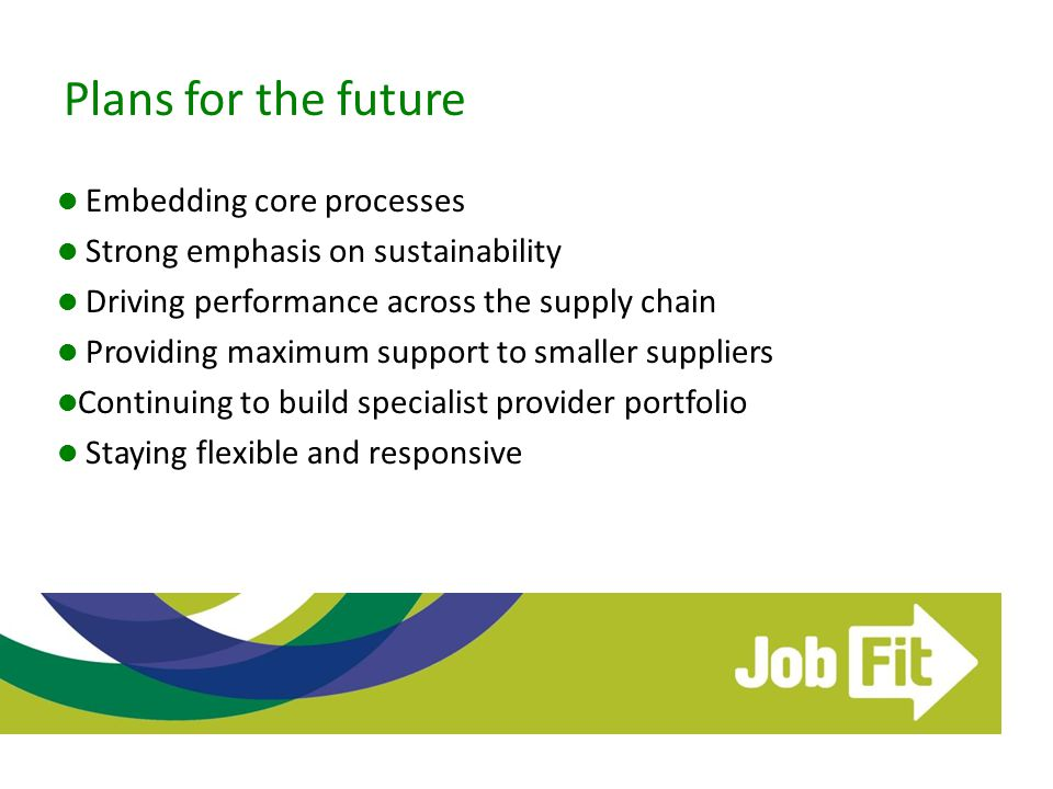 Plans for the future Embedding core processes